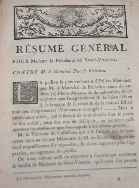 . Ensemble de factums concernant le maréchal duc de Richelieu 1775-1777