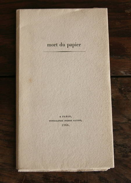 DELLUEGUE - Mort du papier - 1966 - Bois gravé par Pierre Gaudin - Photo 1, livre rare du XXe siècle