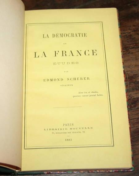 Scherer - De la démocratie en France. Etudes - 1883 - Relié - Photo 1 - livre d'occasion