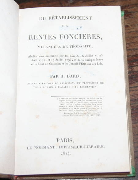 [DROIT] Dard - Rétablissement des rentes foncières et féodalité - 1814 - Relié - Photo 0, livre ancien du XIXe siècle