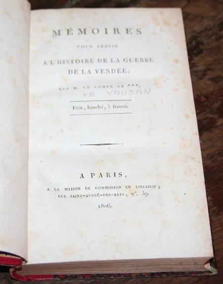 [REVOLUTION] VAUBAN - Mémoires de la guerre de la VENDEE - 1806 - EO - Photo 1 - livre d'occasion