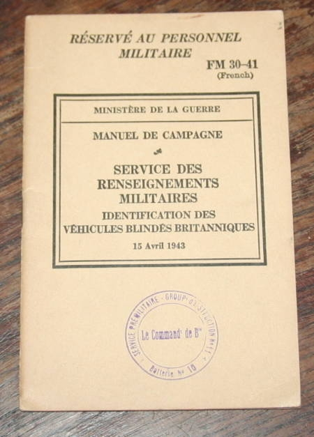 [Militaria Armes] Identification des véhicules blindés britanniques - 1943 - Photo 3 - livre de collection