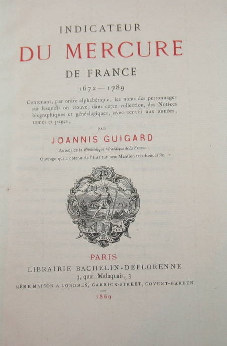 Indicateur du Mercure de France. 1672-1789 par Guigard - 1869 - Photo 0 - livre de bibliophilie