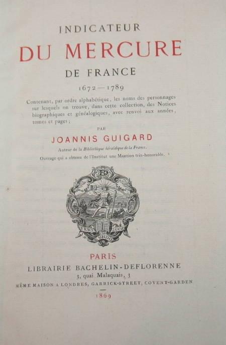 Indicateur du Mercure de France. 1672-1789 par Guigard - Photo 0 - livre d'occasion