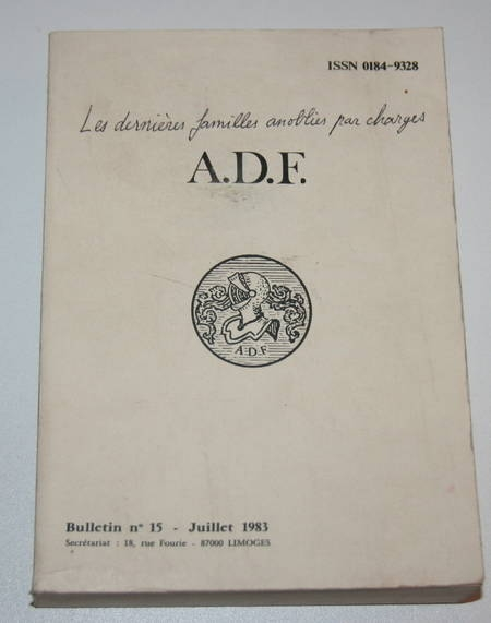 Noblesse - Juridictions et chancelleries anoblissantes - ADF 1983 - Rare - Photo 0 - livre d'occasion