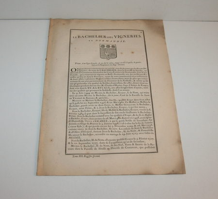 [Noblesse] Hozier - Généalogie Le Bachelier - 1741 - Normandie - Photo 1 - livre d'occasion