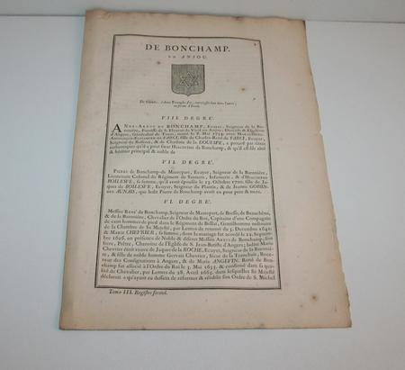[Noblesse, Anjou] Hozier - Généalogie de Bonchamp en Anjou - 1741 - Photo 1 - livre rare