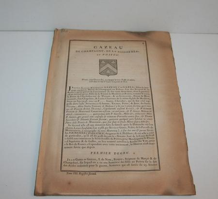 [Noblese, Poitou] Hozier - Généalogie Gazeau de Champagné en Poitou - 1741 - Photo 0 - livre de bibliophilie