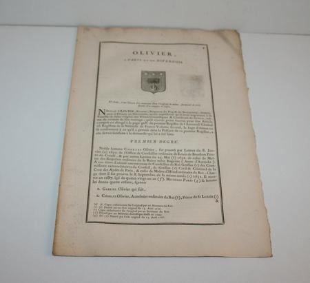 HOZIER (Louis Pierre d') et d'HOZIER DE SERIGNY. Généalogie de la famille Olivier à Paris et en Nivernois, livre ancien du XVIIIe siècle