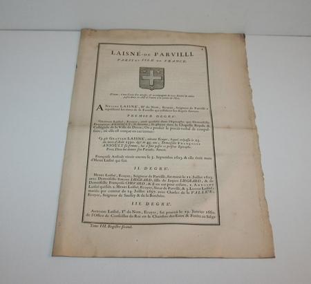 HOZIER (Louis Pierre d') et d'HOZIER DE SERIGNY. Généalogie de la famille Laisné de Parvilli. Paris et Isle de France, livre ancien du XVIIIe siècle