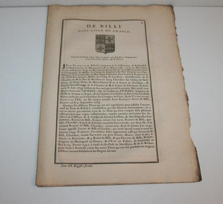 HOZIER (Louis Pierre d') et d'HOZIER DE SERIGNY. Généalogie de la famille de Billi dans l'Isle de France, livre ancien du XVIIIe siècle