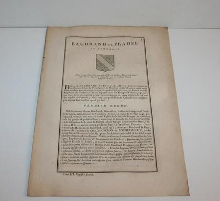 HOZIER (Louis Pierre d') et d'HOZIER DE SERIGNY. Généalogie de la famille Baudrand de Pradel en Lionnois, livre ancien du XVIIIe siècle