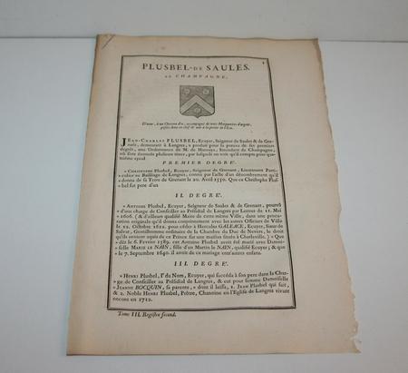 Hozier - Généalogie Plusbel de Saules - 1741 - Champagne - Photo 1 - livre rare