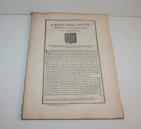 Hozier - Généalogie de Beccarie de Pavie - 1741 - Languedoc - Photo 1 - livre de bibliophilie