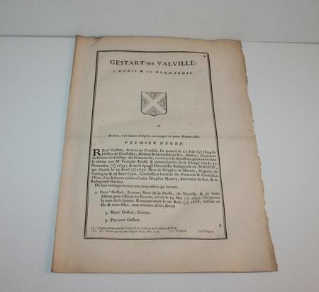 HOZIER (Louis Pierre d') et d'HOZIER DE SERIGNY. Généalogie de la famille Gestard de Valville à Paris et en Normandie, livre ancien du XVIIIe siècle