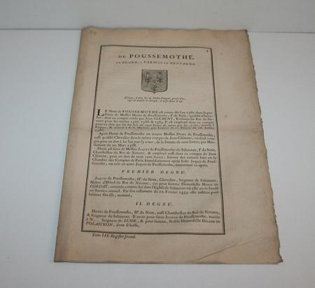 Hozier - Généalogie de Poussemothe, en Béarn - 1741 - Photo 1 - livre ancien