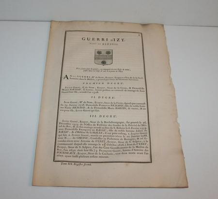 HOZIER (Louis Pierre d') et d'HOZIER DE SERIGNY. Généalogie de la famille Guerri d'Izy, dans le Blésois, livre ancien du XVIIIe siècle