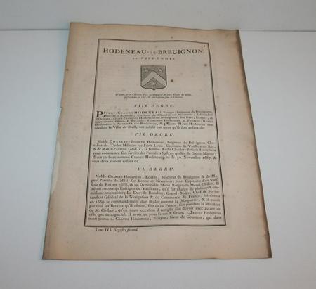 HOZIER (Louis Pierre d') et d'HOZIER DE SERIGNY. Généalogie de la famille Hodeneau de Breuignon, en Nivernois, livre ancien du XVIIIe siècle
