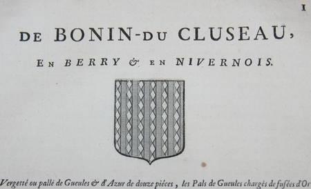 HOZIER (Louis Pierre d') et d'HOZIER DE SERIGNY. Généalogie de la famille de Bonin du Cluseau, en Berry et en Nivernois, livre ancien du XVIIIe siècle