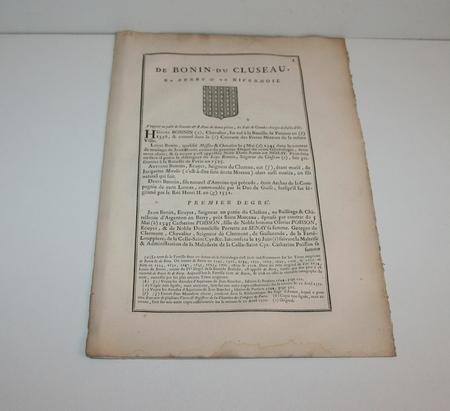 Hozier - Généalogie de Bonin du Cluseau - 1752 en Berry - Photo 1 - livre rare