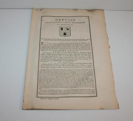 Hozier - Généalogie Gervais de la Vallée - 1741 - Bretagne - Photo 1 - livre du XVIIIe siècle