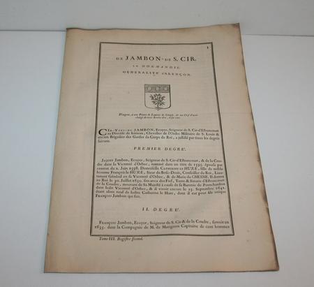 Hozier - Généalogie Jambon de Saint-Cyr en Normandie - 1741 - Photo 0 - livre de bibliophilie