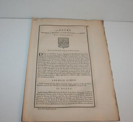 HOZIER (Louis Pierre d') et d'HOZIER DE SERIGNY. Généalogie de la famille de Givès, seigneurs de Belneuf, des Bois-Besnards et de Creusi, dans l'Orléanois