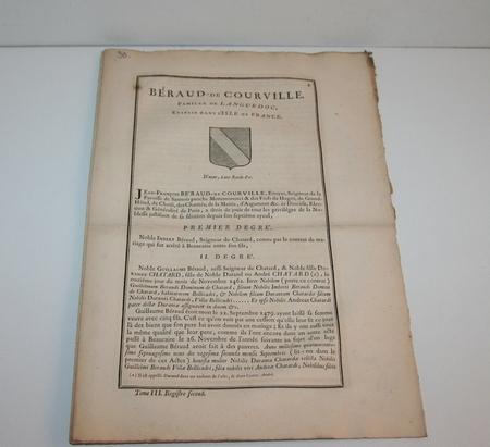 Hozier - Généalogie Béraud de Courville - 1741 - Languedoc - Photo 0, livre ancien du XVIIIe siècle