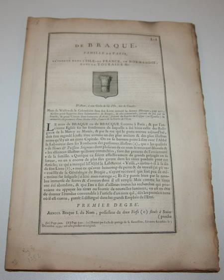 [Noblesse Paris] Hozier - Généalogie de Braque - 1762 - Photo 3, livre ancien du XVIIIe siècle