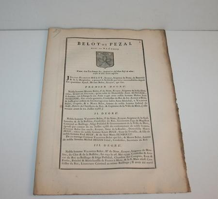 HOZIER (Louis Pierre d') et d'HOZIER DE SERIGNY. Généalogie de la famille Belot de Pezai, dans le Blésois, livre ancien du XVIIIe siècle