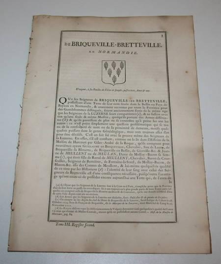 Hozier - Généalogie Briqueville-Bretteville - Normandie - 18e - Photo 1 - livre de bibliophilie
