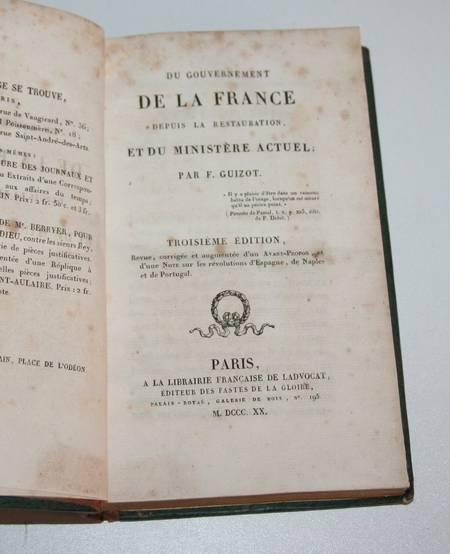 Guizot - Du gouvernement de la France - 1820 - Relié - Photo 1 - livre de bibliophilie