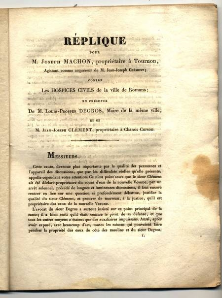 [Dauphiné] Hospices et cours d'eau à Romans, Joseph Machon de Tournon - 1822 - Photo 0 - livre de collection