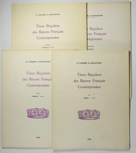 [Noblesse] Titres réguliers des barons français contemporains - 1964-1967 - Photo 0, livre rare du XXe siècle