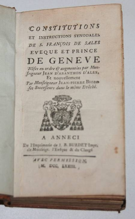 Constitutions de St François de Sales éveque de Genève - Annecy - 1773 - Photo 1 - livre rare