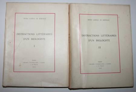 GADEAU de KERVILLE - Distractions littéraires d'un biologiste 1933 Envoi 2 vol. - Photo 1 - livre d'occasion