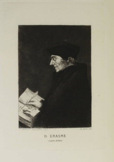 ERASME. Les colloques. Nouvellement traduits par Victor Develay et ornés de vignettes gravées à l'eau-forte par J. Chauvet, livre rare du XIXe siècle