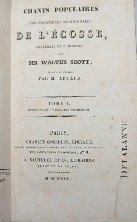 Walter Scott - Chants populaires des frontières méridionales de l'Ecosse - 1826 - Photo 1 - livre de bibliophilie