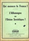 Qui menace la France ? L Allemagne ou l Union Soviétique ? B. E. I. P. I. - 1954 - Photo 0, livre rare du XXe siècle