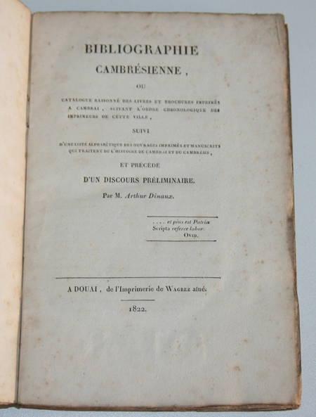 [Cambrai, Cambrésis] Bibliographie cambrésienne - 1822 - Rare - Photo 0 - livre romantique