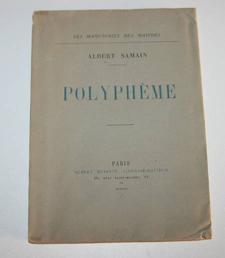 [Fac-simile du Manuscrit] SAMAIN (Charles) - Polyphème - Messein, 1921 - Photo 3 - livre de collection
