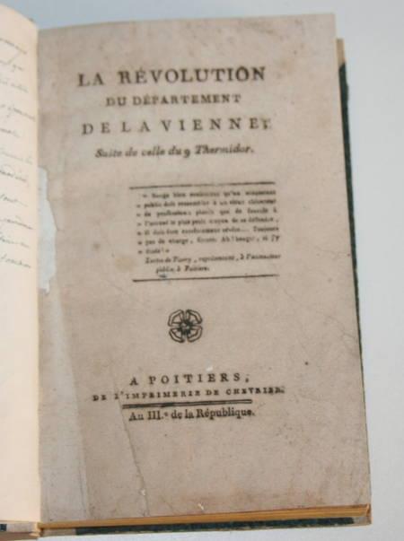 [Poitou Révolution] La révolution du département de la Vienne - An III (1795) - Photo 2 - livre ancien