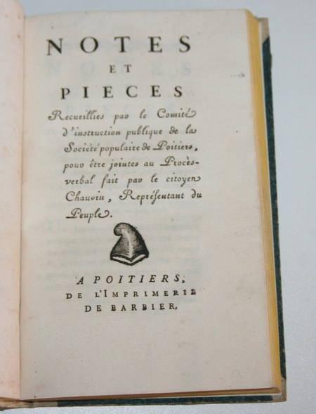 [Poitou Révolution] La révolution du département de la Vienne - An III (1795) - Photo 3 - livre ancien