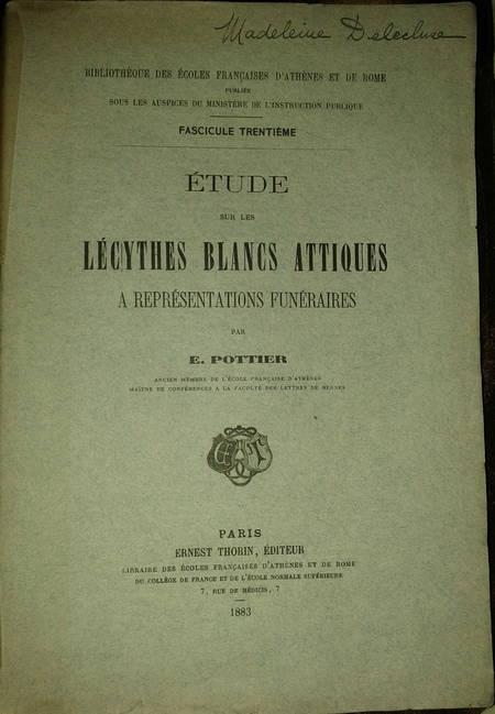 [Grèce] Etude sur les Lécythes blancs attiques à représentations funéraires 1883 - Photo 1 - livre du XIXe siècle