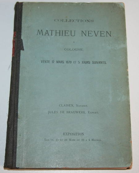 Catalogue de la vente de Mathieu Neven, Cologne 1879 - Illustré de photographies - Photo 1 - livre rare