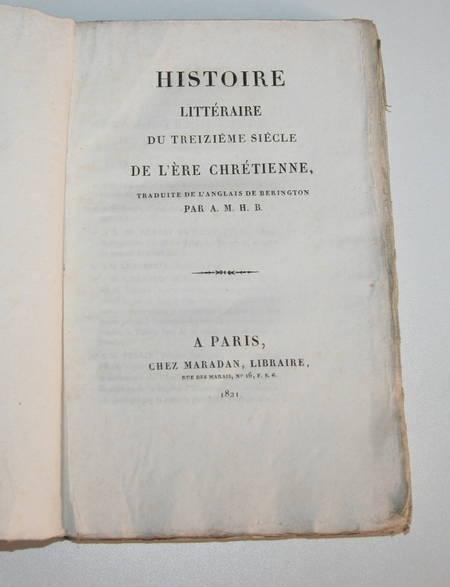 BERINGTON - Histoire littéraire du treizième siècle - 1821 - Photo 0 - livre de bibliophilie