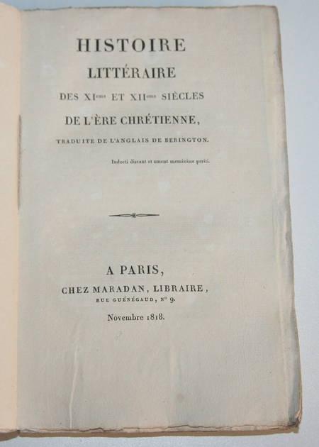 BERINGTON - Histoire littéraire des XIe et XIIe siècles - 1818 - Photo 0 - livre de collection