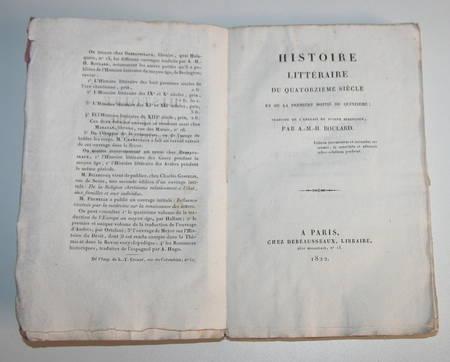 BERINGTON - Histoire littéraire des XIVe et début XVe siècles - 1822 - Photo 0 - livre rare