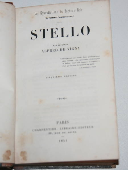 Vigny - Stello - Charpentier - 1841 - Eo de Mademoiselle Sedaine - Photo 1 - livre rare