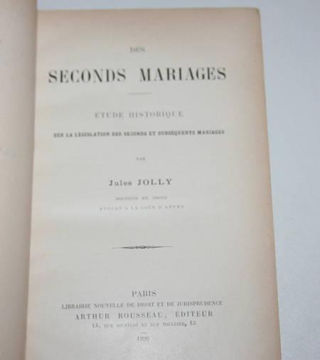 [Droit] Jolly - Les seconds mariages. Etude historique - 1896 - Relié - Envoi - Photo 2, livre rare du XIXe siècle